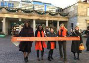 UN Women UK draws orange line to highlight violence against women