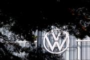 VW: logo on the company's HQ in Wolfsburg. Germany