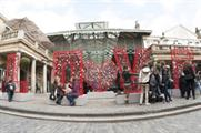 The 2.5-metre high LOVE structure in Covent Garden