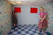 A mother and daughter in Cath Kidston's Illusion Room