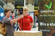 Commuters at Waterloo station tested out Center Parcs' virtual archery