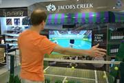 Jacob's Creek tests out tennis skills at Gatwick airport