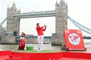 Rory McIlroy tees off on the River Thames
