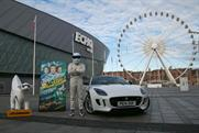 The StigLambanana and Top Gear's The Stig in front of Liverpool's Echo Arena