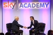 Sky: brand ambassador David Beckham and Sir Michael Parkinson at the Sky Academy launch event