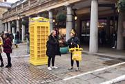 Bumble turns phone box yellow for Valentine's Day