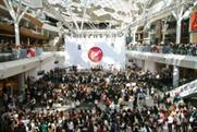 The Vamps appeared in front of large crowds at the Westfield shopping centres.
