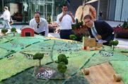 The cake was laid out on Finsbury Avenue Square