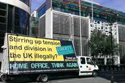 Liberty: campaign group's van outside the Home Office
