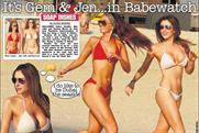 Page 3: replaces topless model with actresses in bikinis