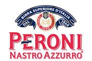 Does Peroni's premium positioning extend to its social presence?