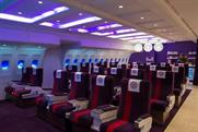 Virgin Money: its new style 'lounge' is designed in the style of a Virgin Atlantic aircraft cabin
