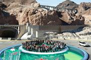 The group posed for the photo in the Hoover Dam