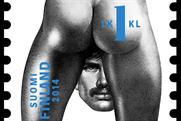 One of the homoerotic stamps inspired by Tom of Finland's drawings