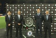 Chelsea FC: Jose Mourinho with his customary cheer on the Yokohama shirt deal
