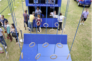 The activation featured gymnasts' rings