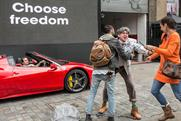 The stunt involved fast cars, motor-bikes and a legion of Roman Centurions.