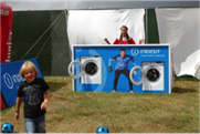 A washing machine shoot-out challenge at Camp Bestival
