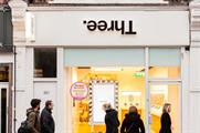 Upside-down signs at Three's Clapham store