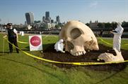 The skull landed on the South Bank in London