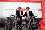 Johnson unveils the new bikes with Santander UK CEO, Nathan Bostock