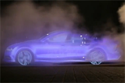 A still of the vapour car from the video