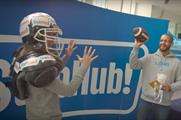 StubHub set up an American football-themed photo wall