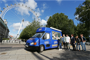 The van is visiting landmarks and responding to the public's Twitter requests