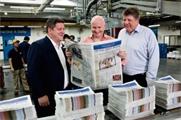From Left: Jonathan Wright, managing director, Asia Pacific, and group publisher at Dow Jones; Gerard Baker, editor-in-chief; and Paul Beckett, Asia editor.