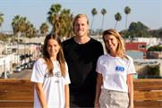 Left to right, Maddie Raedts, CCO and co-founder at IMA, Olivier Koelemij, managing director, MediaMonks LA, and IMA co-founder Emilie Tabor, on the rooftop of their new LA office.