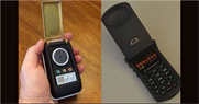 """Star Trek"" communicator on left, Motorola flip-phone on right. Game designer Greg Borenstein drew the connection in Hong Kong."