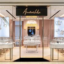 Distinctive geometric interiors and gemstones influence for Annoushka HK store