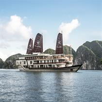 The Ylang Cruise: the latest and most colourful member of the Heritage Line's ship collection in Lan Ha Bay