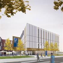 Sundial inspires Ontario University's campus hub design