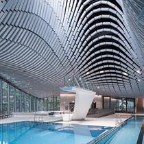 Paracelsus Bad & Kurhaus's ceramic ceiling designed by Berger + Parkkinen Architekten