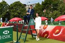 Tim Henman plays on HSBC's Wimbledon court