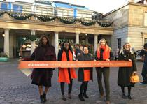 UN Women UK draws orange line to highlight violence against women
