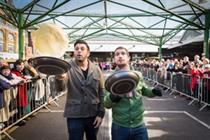 In pictures: Man vs. Food star takes on Pancake Day