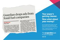 Co-operative Bank backs Guardian's fossil fuel ad ban with print execution