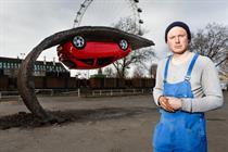 Vauxhall unveils upside-down Corsa sculpture