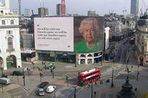 Queen's virus message on London's Piccadilly Lights wins plaudits
