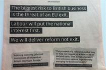 Labour takes full-page FT ad to slam Tory 'Brexit' plans