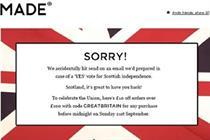"Made.com makes Scottish Referendum marketing ""blunder"""