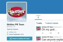 #Skittlegate day 2: Brand's PR team impersonated on Twitter