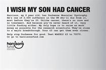 "Harrison's Fund ""I wish my son had cancer"" by AIS London"