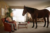 Horse suggests hungry boy eat P.B. Bites in Skippy ad