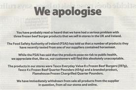 Tesco: 'we apologise' burger press ad