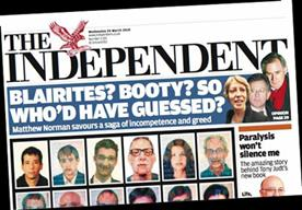 Front page of The Independent on 24 March, 2010