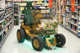 The motorised trolley made its way around Asda's Clapham Junction store