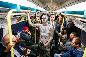 Zombie Boy spooks London commuters during morning rush hour